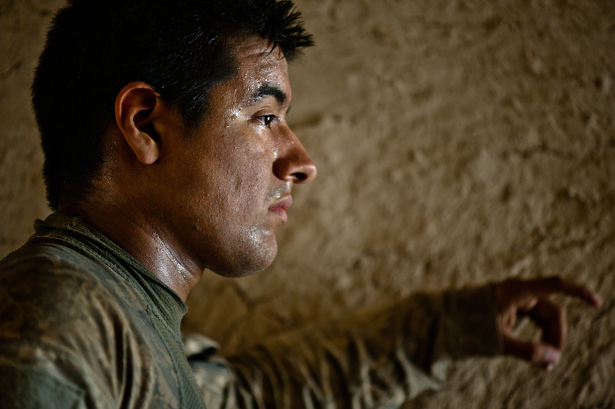 Staff Sergeant David Chavez, resting on the morning of the second day of operations in Nur Muhammad Kalache.